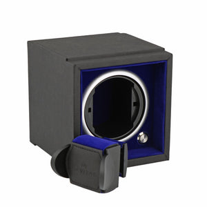 Single Watch Winder for Larger Wrist Sizes Black Soft Touch with Blue Inner by Aevitas