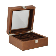 Load image into Gallery viewer, Brown Genuine Leather 4 Watch + 4 Pair Cufflink Collectors Box Velvet Brown Lining by Aevitas