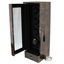 Load image into Gallery viewer, QUAD AUTOMATIC WATCH WINDER DARK BURL WOOD FINISH TOWER SERIES BY AEVITAS - Winder World