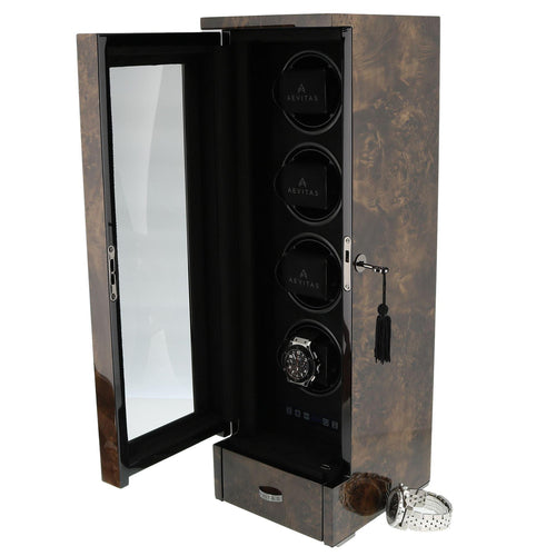 QUAD AUTOMATIC WATCH WINDER DARK BURL WOOD FINISH TOWER SERIES BY AEVITAS - Winder World