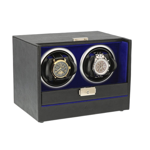 Black Leather with Blue Lining Watch Winder by Aevitas