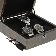 Load image into Gallery viewer, Premium Quality Dark Burl Wood Watch Collectors Box for 6 Watches with Solid Lid by Aevitas - Winder World