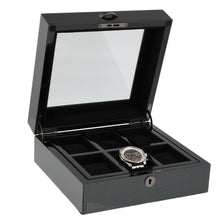 Load image into Gallery viewer, PREMIUM QUALITY CARBON FIBRE WATCH BOX FOR 6 WATCHES BY AEVITAS - Winder World