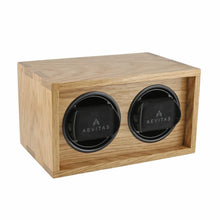 Load image into Gallery viewer, Solid Oak Wood Watch Winder for 2 Watches Manufactured in the UK by Aevitas