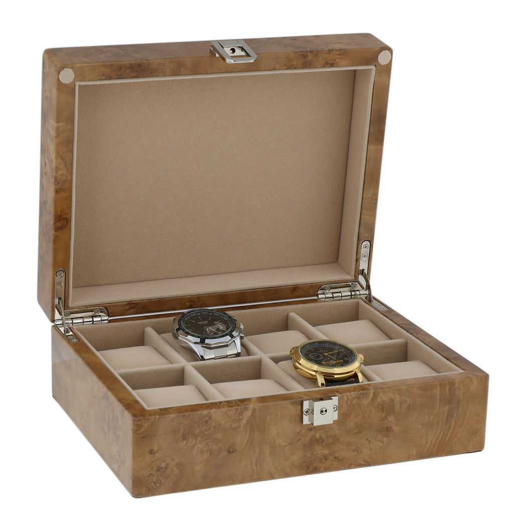 Watch Collectors Box for 8 Wrist Watches in Light Burl Wood with Solid Lid by Aevitas - Winder World