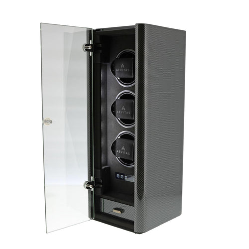 Premium Watch Winder for 3 Automatic Watches Carbon Fibre Finish the Classic Collection by Aevitas - Winder World