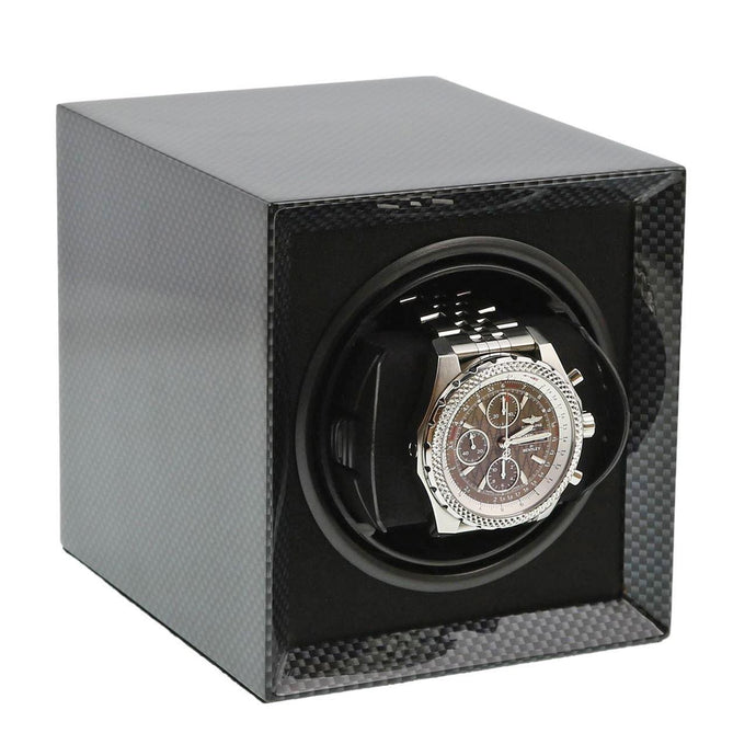 Carbon Fibre Watch Winder for 1 Watch with Rechargeable Battery by Aevitas