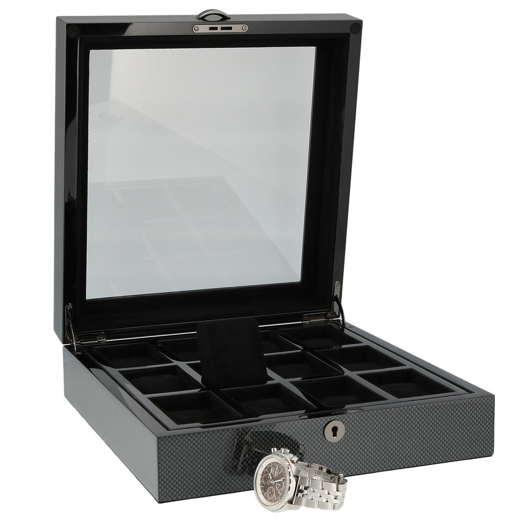 PREMIUM QUALITY CARBON FIBRE WATCH BOX FOR 12 WATCHES BY AEVITAS - Winder World