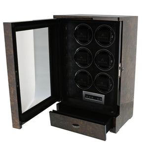 AUTOMATIC 6 WATCH WINDER DARK BURL WOOD FINISH TOWER SERIES BY AEVITAS