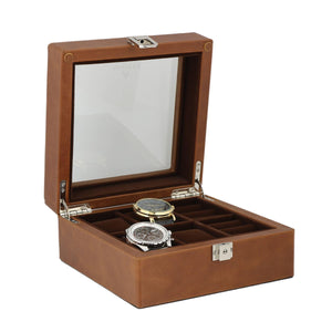 Brown Leather Watch Box 4 watches and 4 Cufflinks