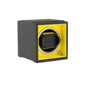 Single Watch Winder Larger Wrist Sizes Black Soft Touch with Yellow by Aevitas