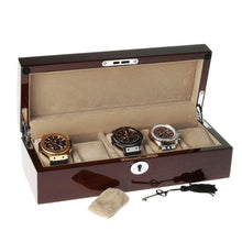 Load image into Gallery viewer, Mahogany Watch Collector Box with Chrome fittings for 5 watches by Aevitas - Winder World
