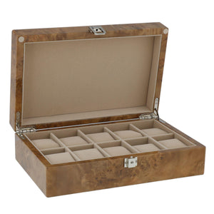 Watch Collectors Box for 10 Wrist Watches in Light Burl Wood with Solid Lid by Aevitas - Winder World