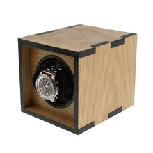 Load image into Gallery viewer, Compact Single Watch Winder in Solid Oak Wood with Dual colour finish manufactured in the UK by Aevitas