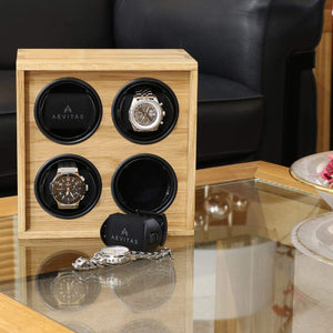 Solid Oak Wood Watch Winder for 4 Watches Manufactured in the UK by Aevitas - Winder World