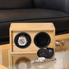 Load image into Gallery viewer, Solid Oak Wood Watch Winder for 2 Watches Manufactured in the UK by Aevitas - Winder World