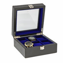 Load image into Gallery viewer, Black Genuine Leather Watch Collectors Box for 6 Wrist Watches Royal Blue Velvet Lining by Aevitas - Winder World
