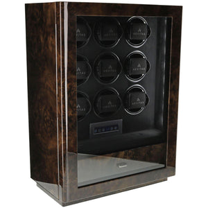 9 Watch Winder for Automatic Watch Dark Burl Wood Finish the Classic Collection by Aevitas - Winder World
