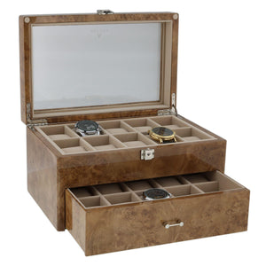 Watch Collectors Box for 20 Wrist Watches in Light Burl Wood by Aevitas - Winder World