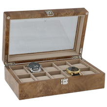 Load image into Gallery viewer, Watch Collectors Box for 10 Wrist Watches in Light Burl Wood by Aevitas - Winder World