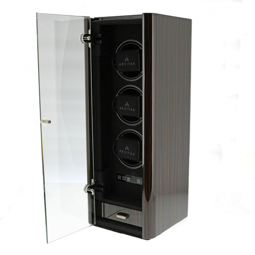 Premium Watch Winder for 3 Automatic Watches Macassar Finish the Classic Collection by Aevitas - Winder World