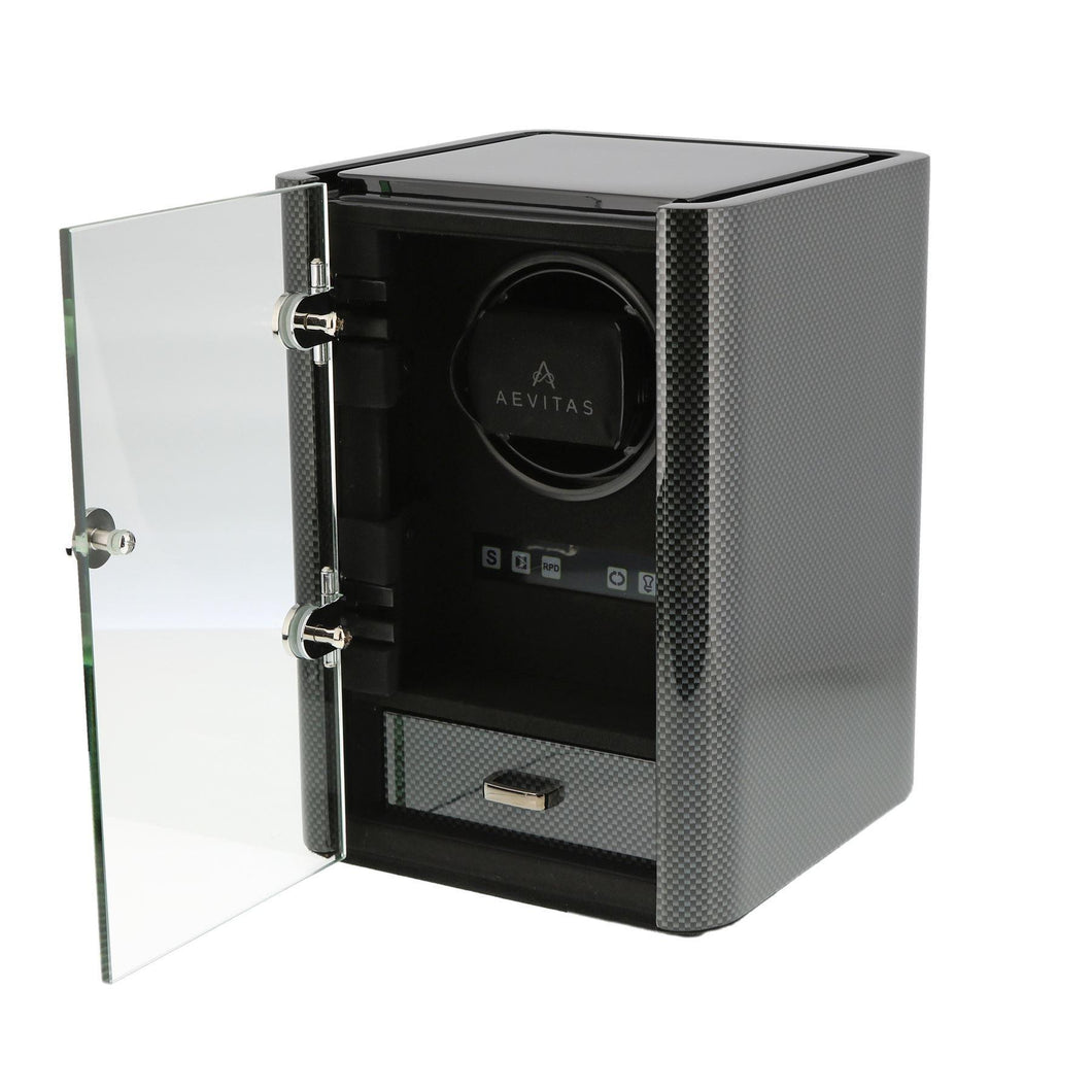 Premium Watch Winder for 1 Automatic Watch Carbon Fibre Finish the Classic Collection by Aevitas