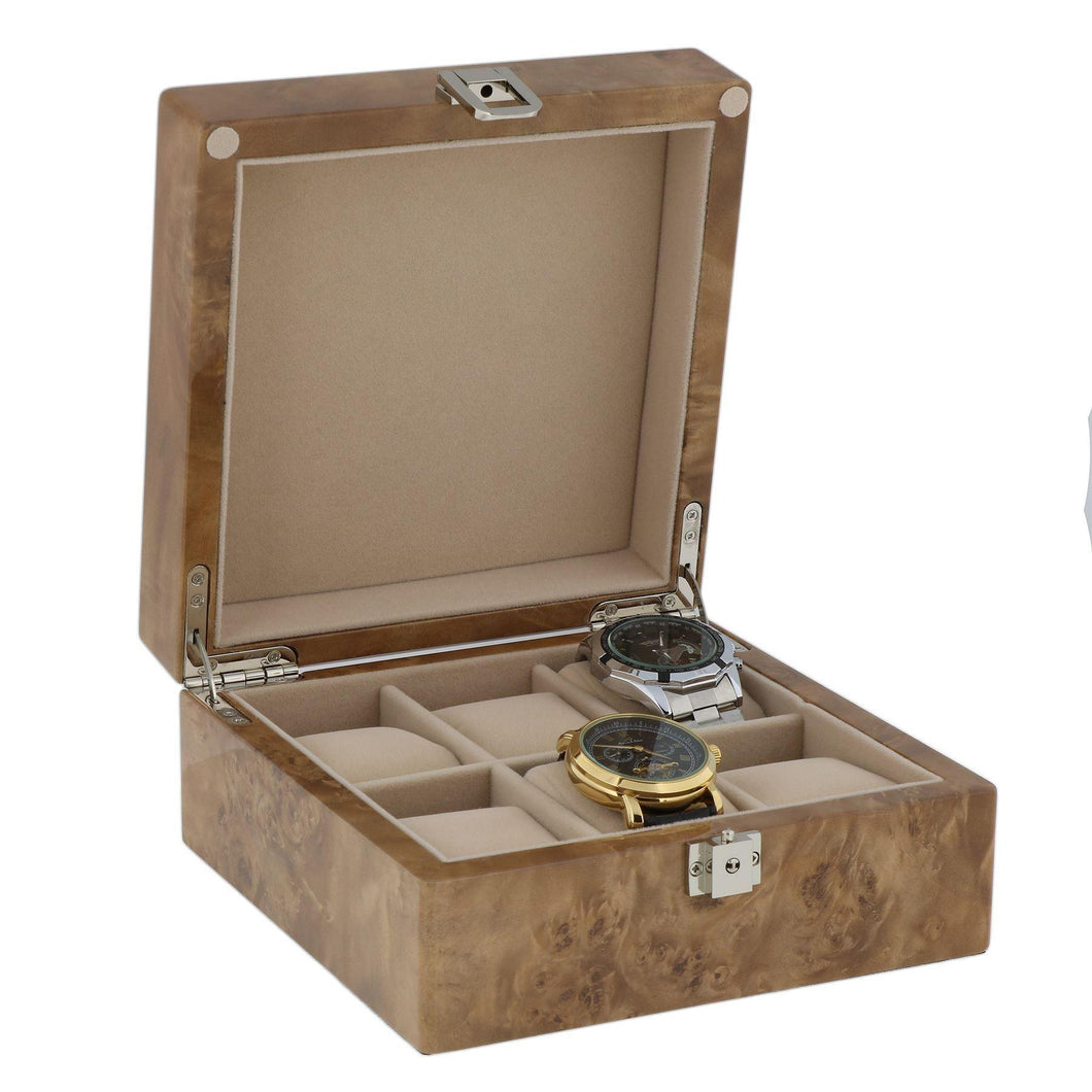 Watch Collectors Box for 6 Wrist Watches in Light Burl Wood with Solid Lid by Aevitas - Winder World