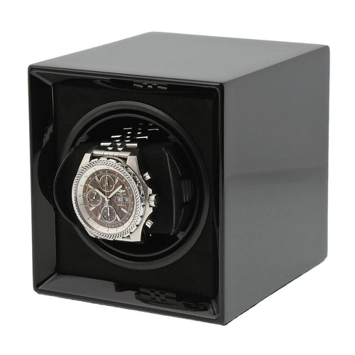 Piano Black Watch Winder for 1 Watch with Rechargeable Battery by Aevitas