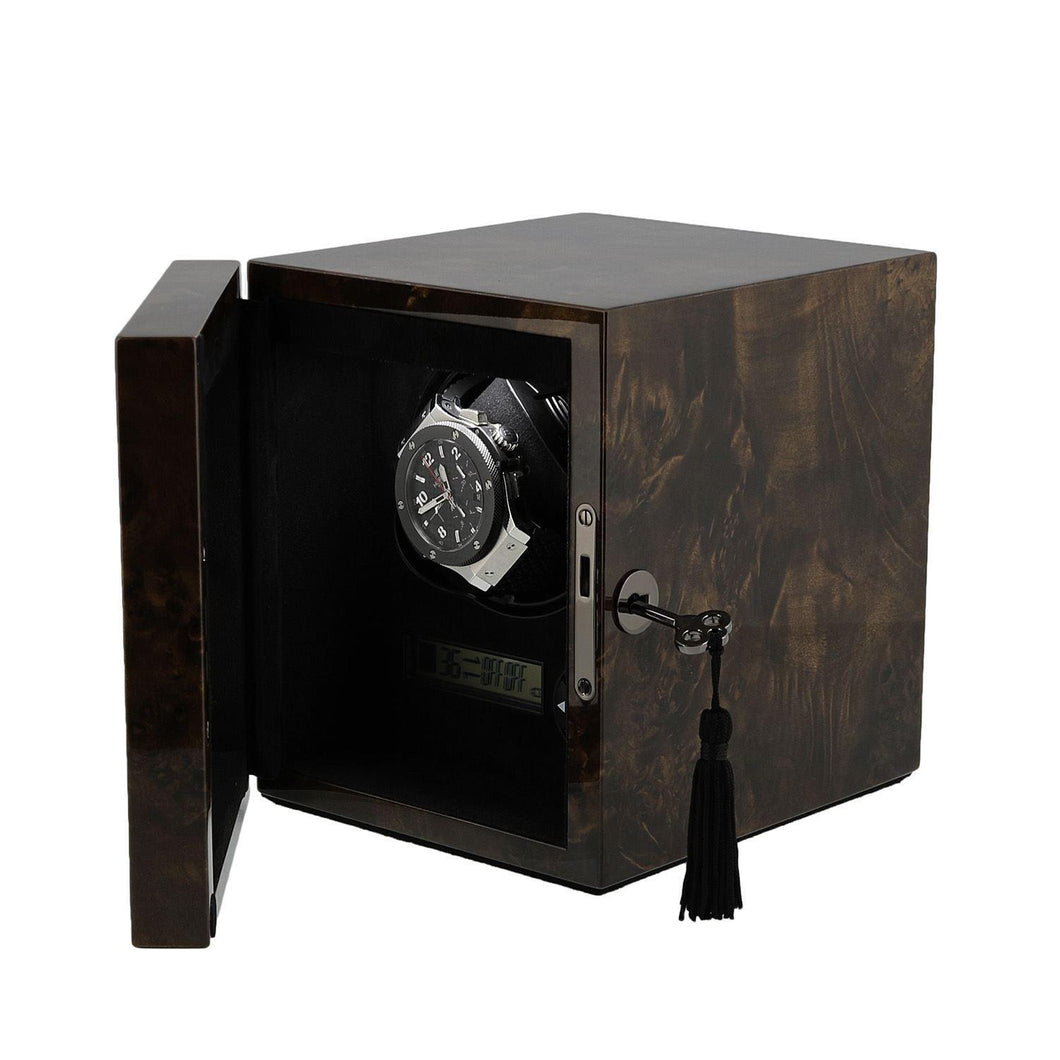 Watch Winder for 1 Automatic Watch Dark Burl Wood finish with LED Light by Aevitas - Winder World