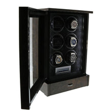 Load image into Gallery viewer, AUTOMATIC 6 WATCH WINDER DARK BURL WOOD FINISH TOWER SERIES BY AEVITAS
