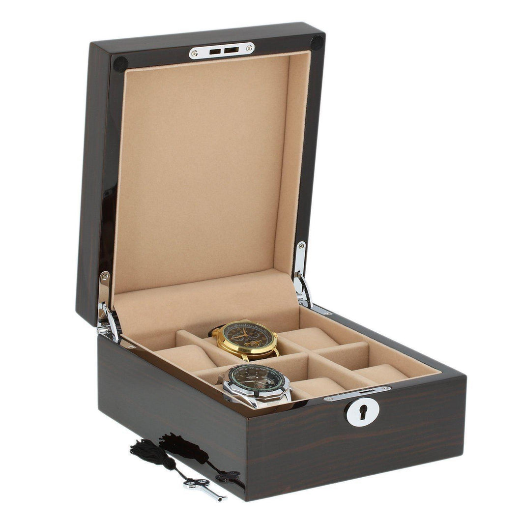 Superior Finish Macassar Wood Watch Collector Box for 6 watches by Aevitas - Winder World