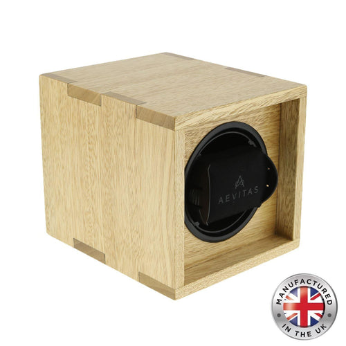 Solid Idigbo Hard Wood Watch Winder for 1 Watch in  Manufactured in the UK by Aevitas