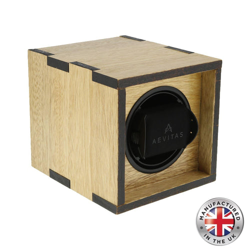 Solid Idigbo Hard Wood Watch Winder for 1 Watch 2 Tone Manufactured in the UK by Aevitas