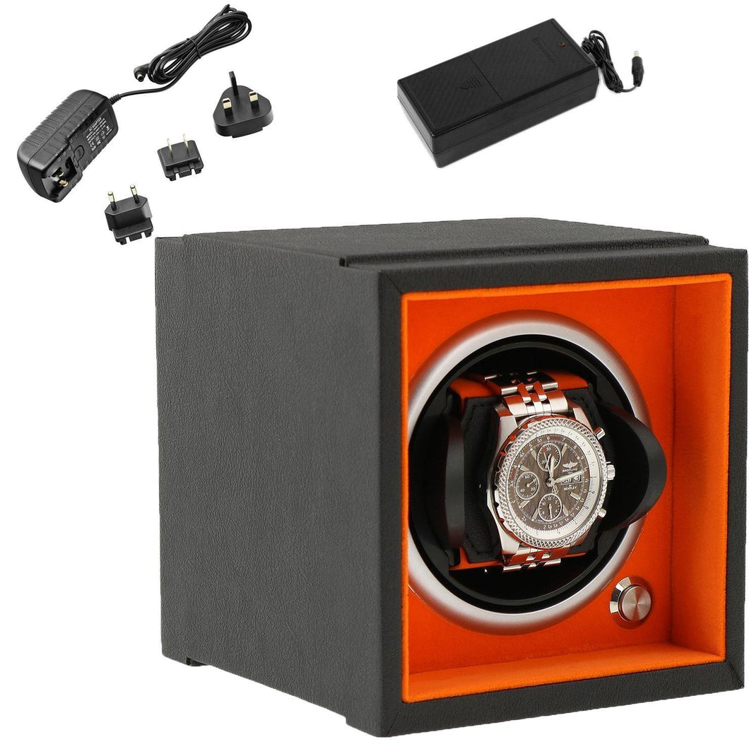 Single Watch Winder Larger Wrist Sizes Black Soft Touch with Orange by Aevitas - Winder World