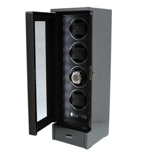 QUAD AUTOMATIC WATCH WINDER CARBON FIBRE FINISH TOWER SERIES BY AEVITAS - Winder World