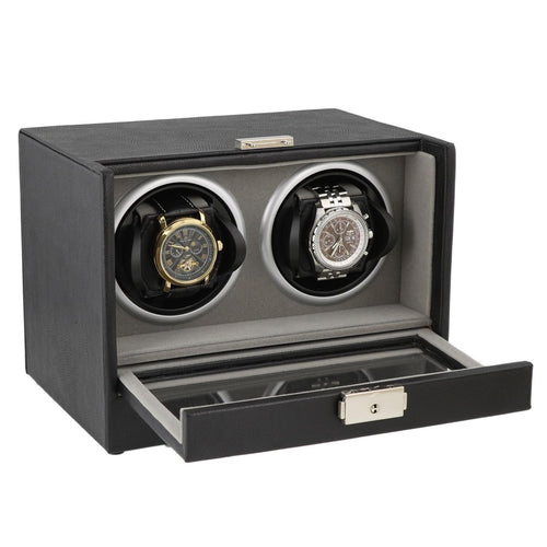 Black Genuine Leather Dual Watch Winder - Slide Away Door - Grey Velvet Lining by Aevitas - Winder World