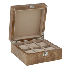 Load image into Gallery viewer, Watch Collectors Box for 6 Wrist Watches in Light Burl Wood with Solid Lid by Aevitas