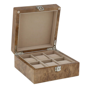 Watch Collectors Box for 6 Wrist Watches in Light Burl Wood with Solid Lid by Aevitas