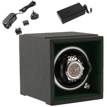 Load image into Gallery viewer, Single Watch Winder Larger Wrist Sizes Black Soft Touch with Green by Aevitas - Winder World