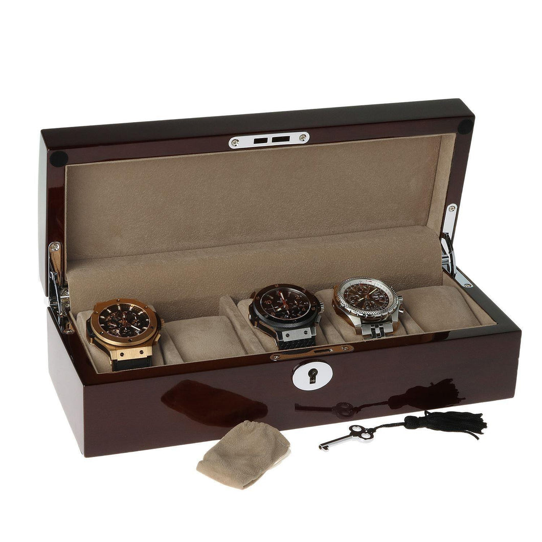 Mahogany Watch Collector Box with Chrome fittings for 5 watches by Aevitas - Winder World