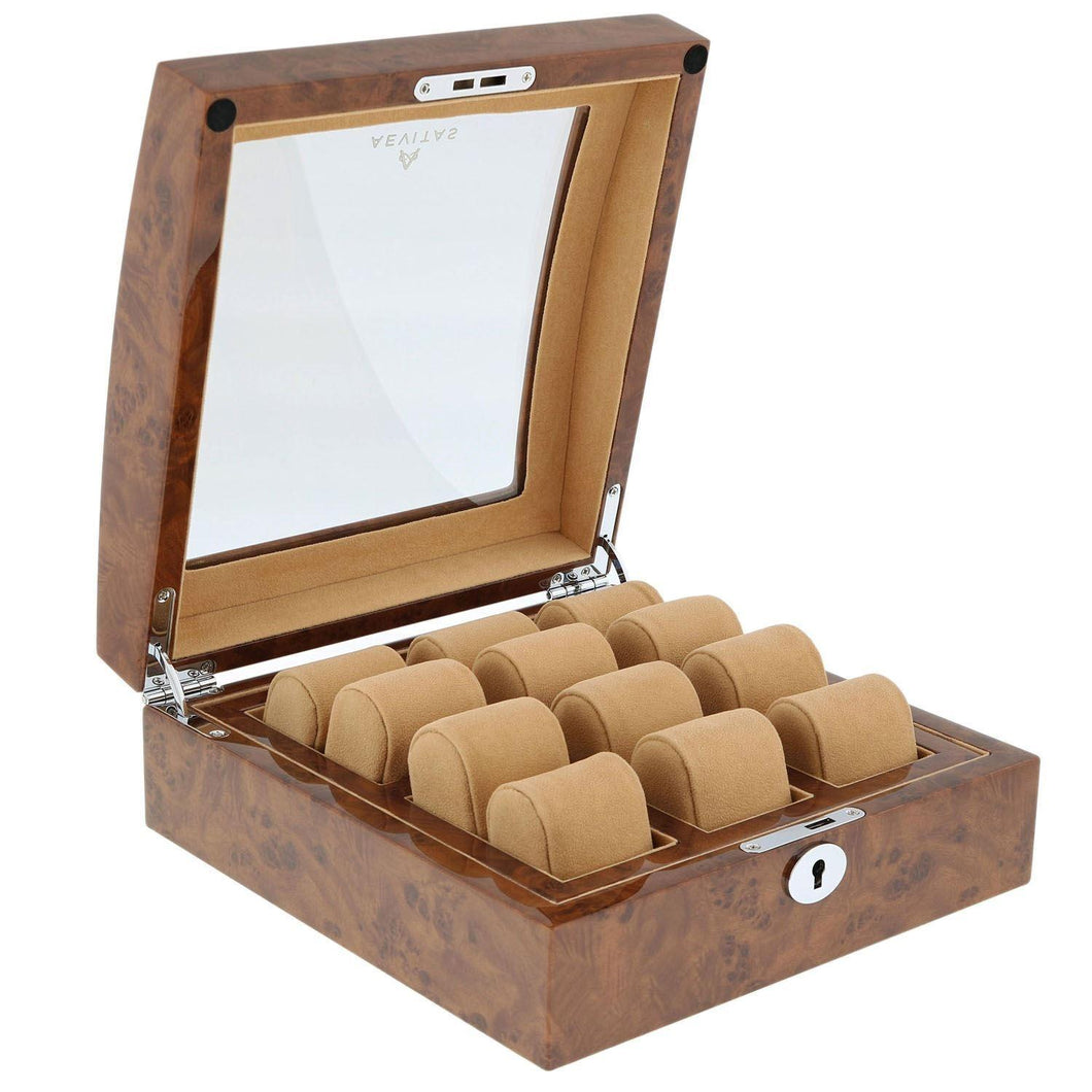 Superb Quality Burl Wood Finish Watch Collectors Box for 6 watches with Glass top by Aevitas - Winder World