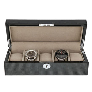 Carbon Fibre Finish Watch Collector Box with Chrome fittings for 5 watches by Aevitas