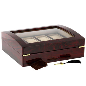 High Quality Watch Collectors Box for 8 Watches with Rose Wood Veneer High Gloss Finish by Aevitas - Winder World