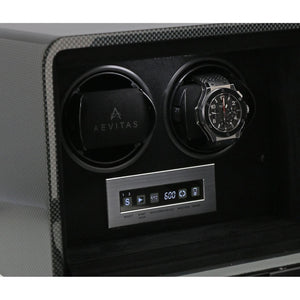 Aevitas Carbon Fibre 2 Watch Winder Touch Screen