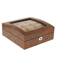 Load image into Gallery viewer, Superb Quality Burl Wood Finish Watch Collectors Box for 6 watches with Glass top by Aevitas - Winder World
