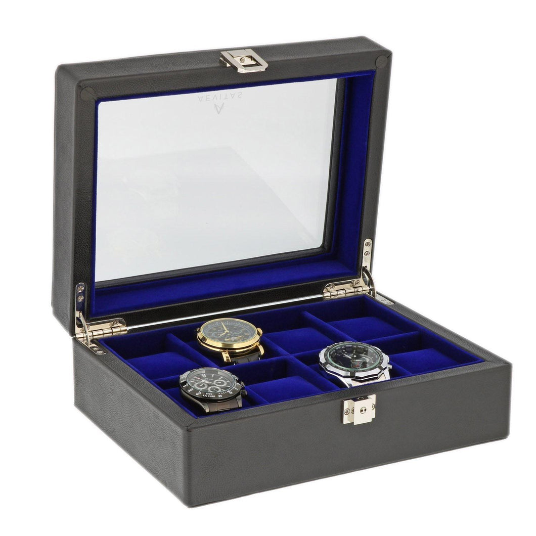 Black Genuine Leather Watch Collectors Box for 8 Wrist Watches Purple Velvet Lining by Aevitas - Winder World