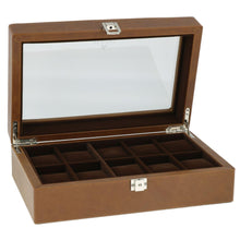 Load image into Gallery viewer, Cognac Brown Genuine Leather Watch Collectors Box for 10 Wrist watches by Aevitas