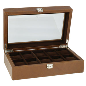 Cognac Brown Genuine Leather Watch Collectors Box for 10 Wrist watches by Aevitas