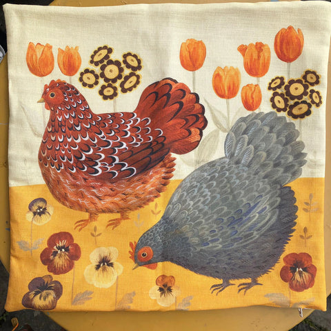 First sample of Dog & Dome hen cushion
