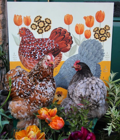 Arthur Parkinson's hens with Catriona Hall painting